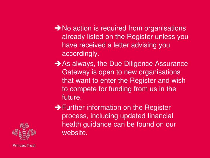 No action is required from organisations already listed on the Register unless you have received a letter advising you accordingly.