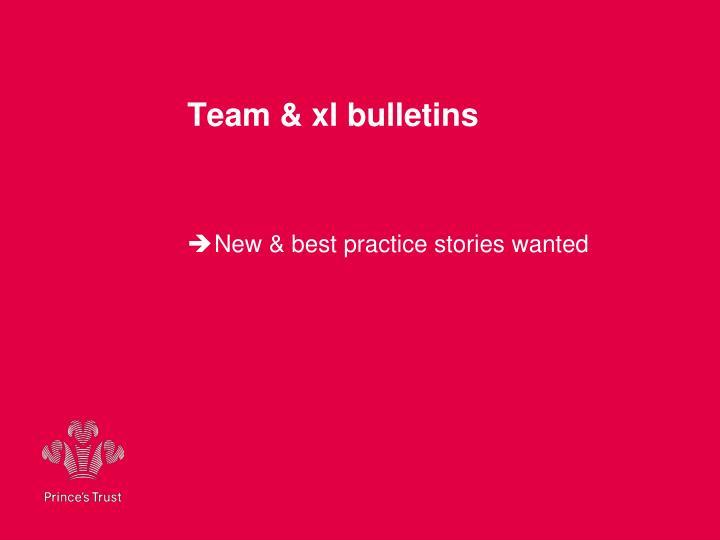 Team & xl bulletins