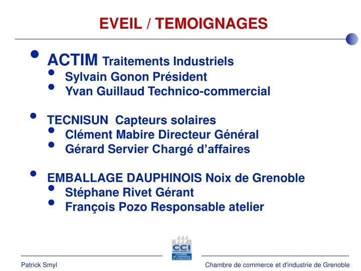 EVEIL / TEMOIGNAGES