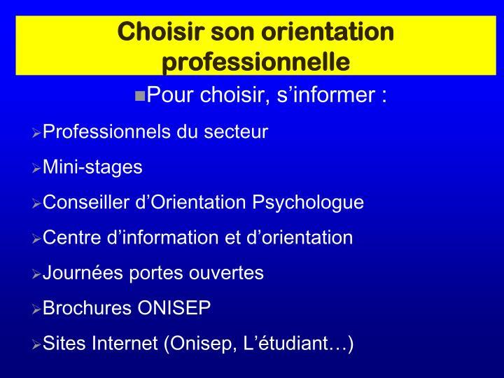 Choisir son orientation professionnelle