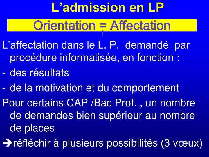 L'admission en LP
