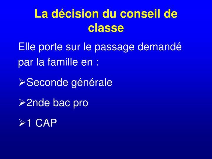 La décision du conseil de classe