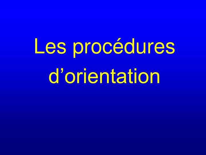 Les procédures