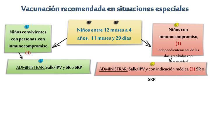 Vacunación recomendada