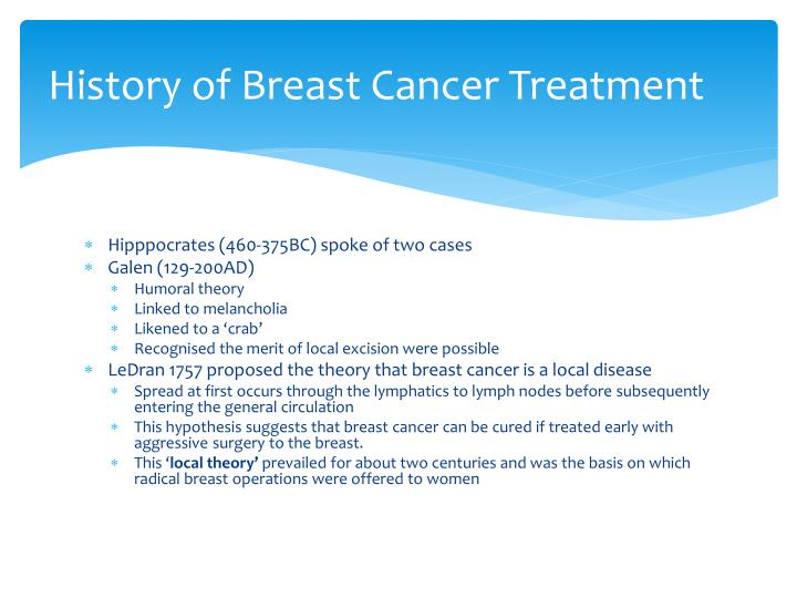 History of breast cancer treatment