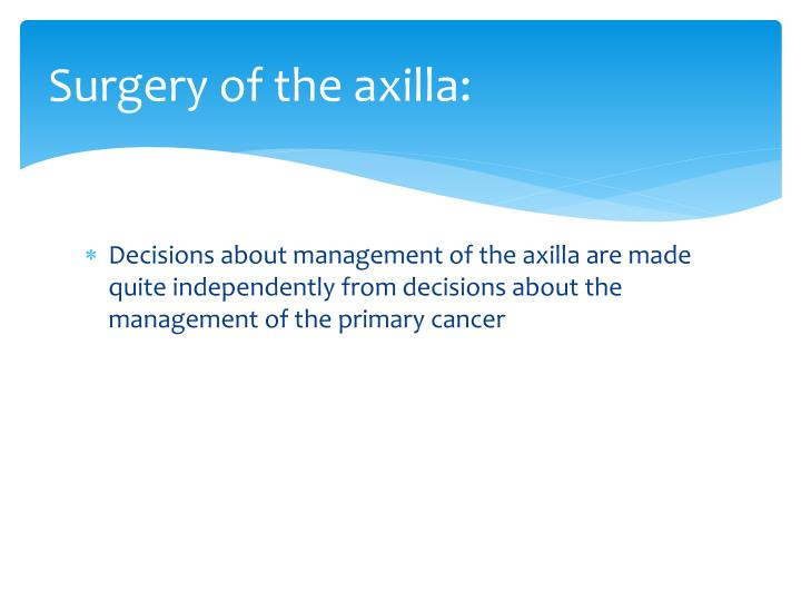 Surgery of the axilla: