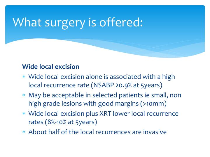 What surgery is offered: