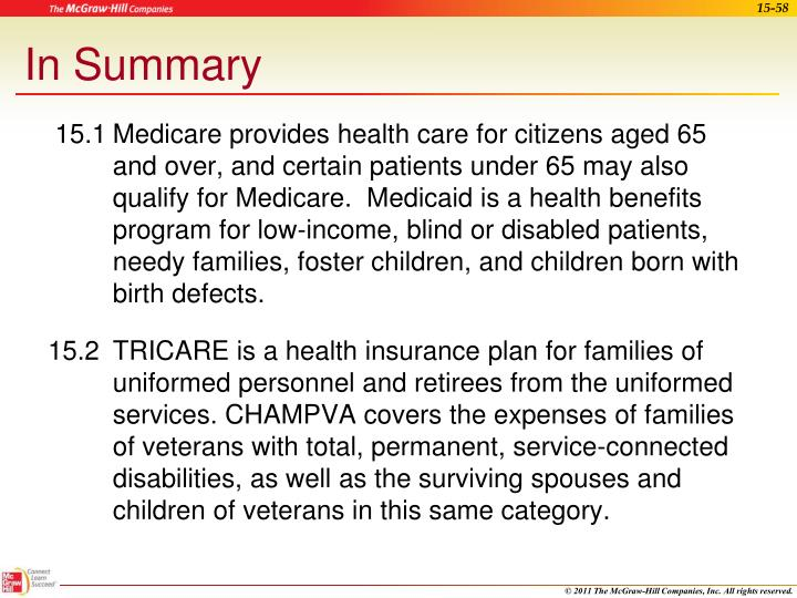 15.1	Medicare provides health care for citizens aged 65 and over, and certain patients under 65 may also qualify for Medicare.  Medicaid is a health benefits program for low-income, blind or disabled patients, needy families, foster children, and children born with birth defects.