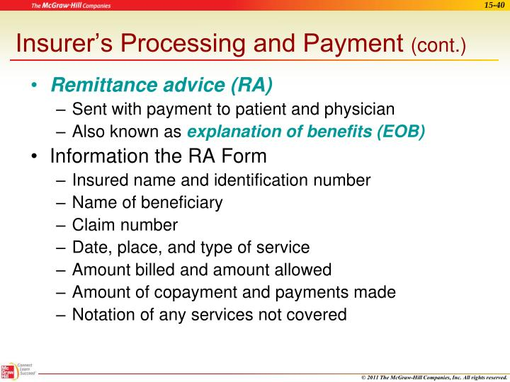 Insurer's Processing and Payment