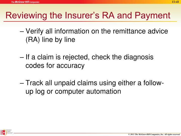Reviewing the Insurer's RA and Payment