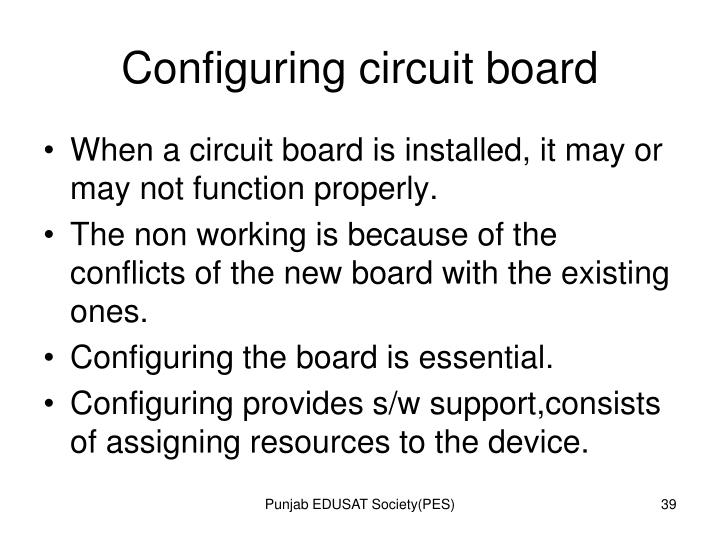 Configuring circuit board