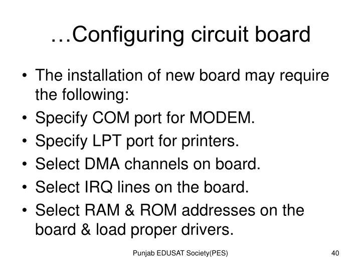 …Configuring circuit board