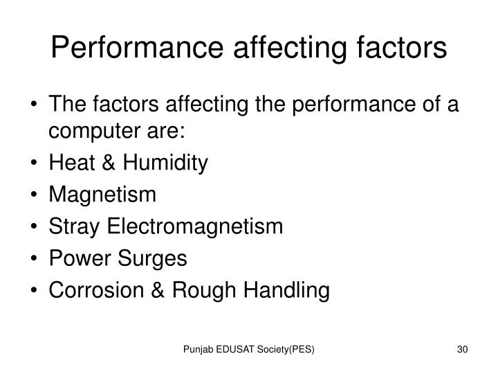 Performance affecting factors