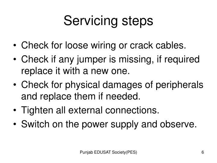 Servicing steps