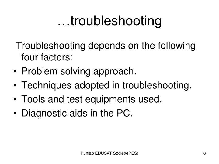 …troubleshooting