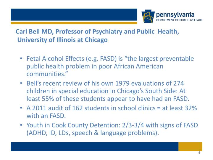 Carl Bell MD, Professor of Psychiatry and Public  Health, University of Illinois at Chicago