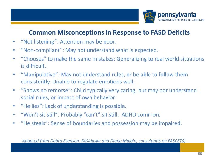 Common Misconceptions in Response to FASD Deficits