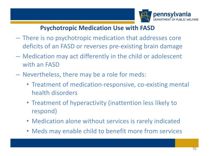Psychotropic Medication Use with FASD
