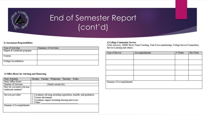 End of Semester Report