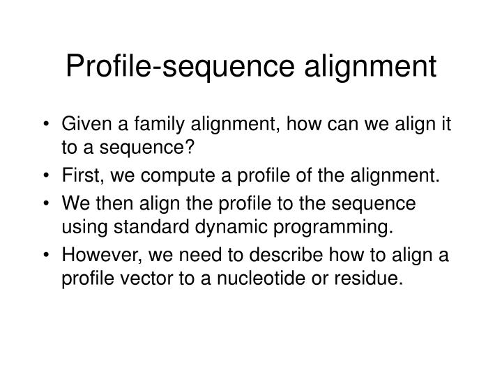 Profile-sequence alignment