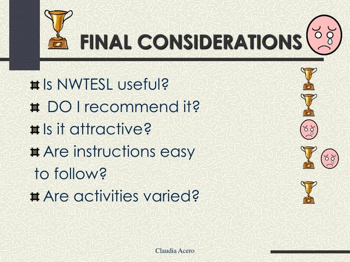 Is NWTESL useful?