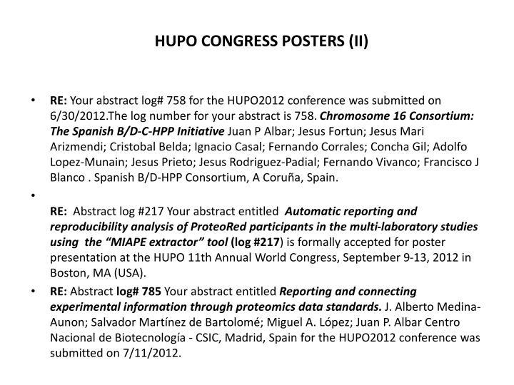 HUPO CONGRESS POSTERS (II)