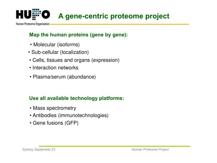 A gene-centric proteome project