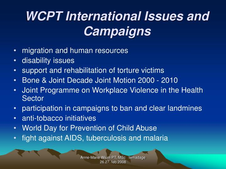 WCPT International Issues and Campaigns