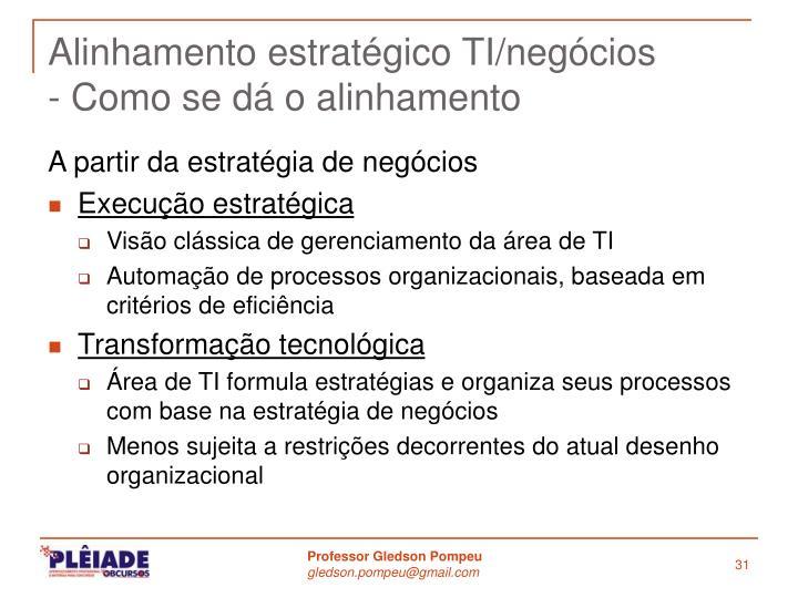 Alinhamento estratégico TI/negócios