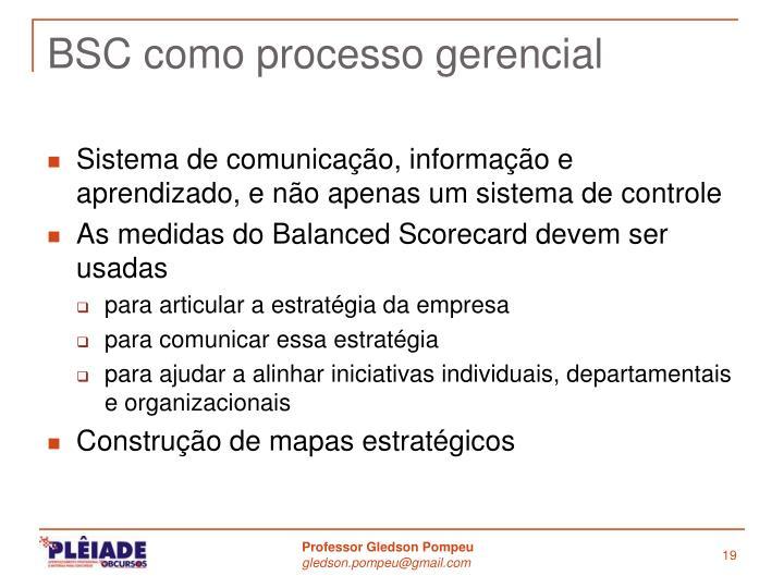 BSC como processo gerencial