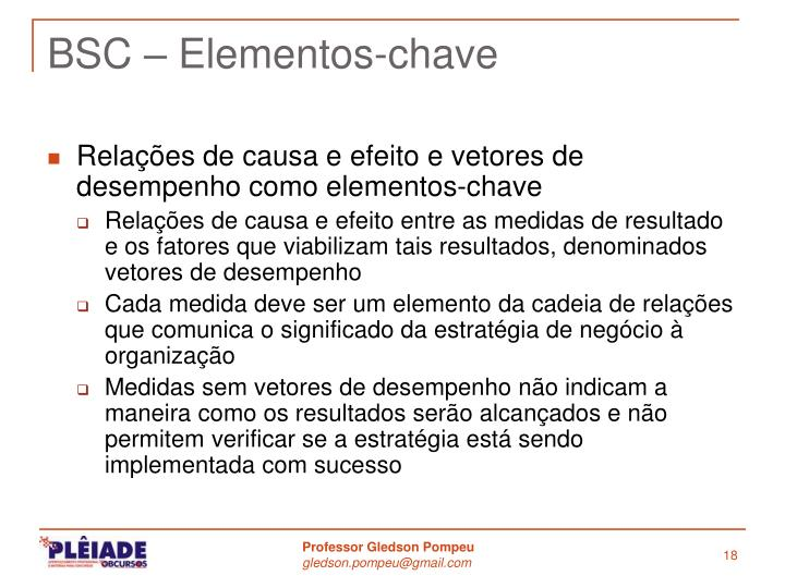 BSC – Elementos-chave