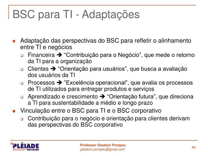 BSC para TI - Adaptações