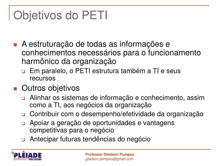 Objetivos do PETI