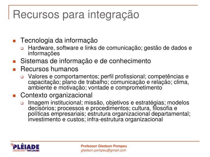 Recursos para integração
