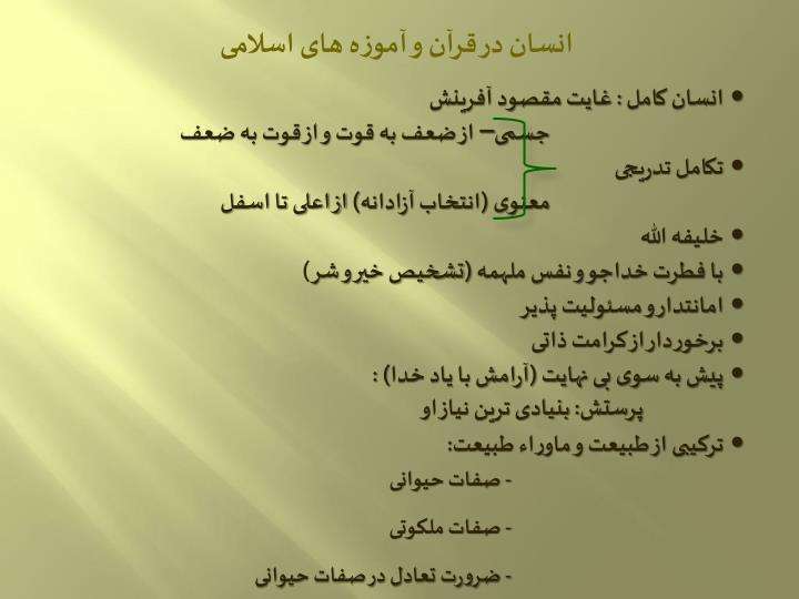 انسان در قرآن و آموزه های اسلامی