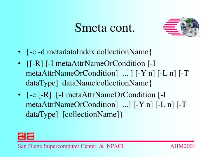 {-c -d metadataIndex collectionName}