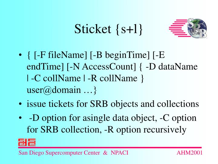 { [-F fileName] [-B beginTime] [-E endTime] [-N AccessCount] { -D dataName   -C collName   -R collName } user@domain …}