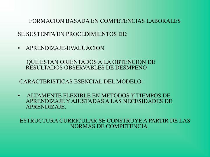 FORMACION BASADA EN COMPETENCIAS LABORALES