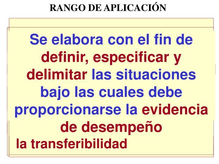 RANGO DE APLICACIÓN