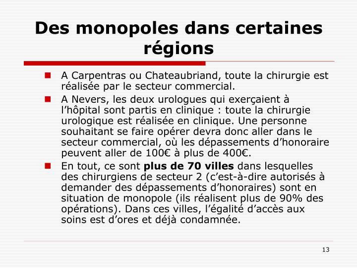 Des monopoles dans certaines régions