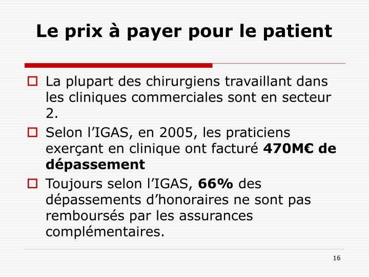 Le prix à payer pour le patient