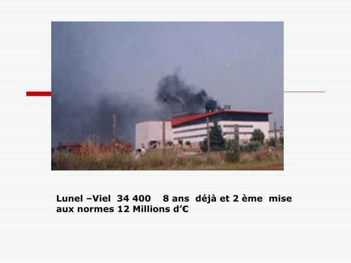 Lunel –Viel  34 400    8 ans  déjà et 2 ème  mise aux normes 12 Millions d'€