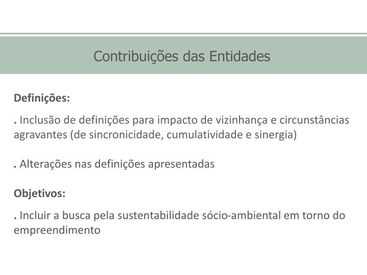 Contribuições das Entidades