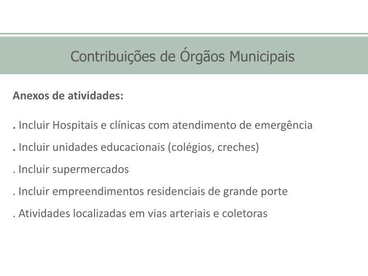 Contribuições de Órgãos Municipais