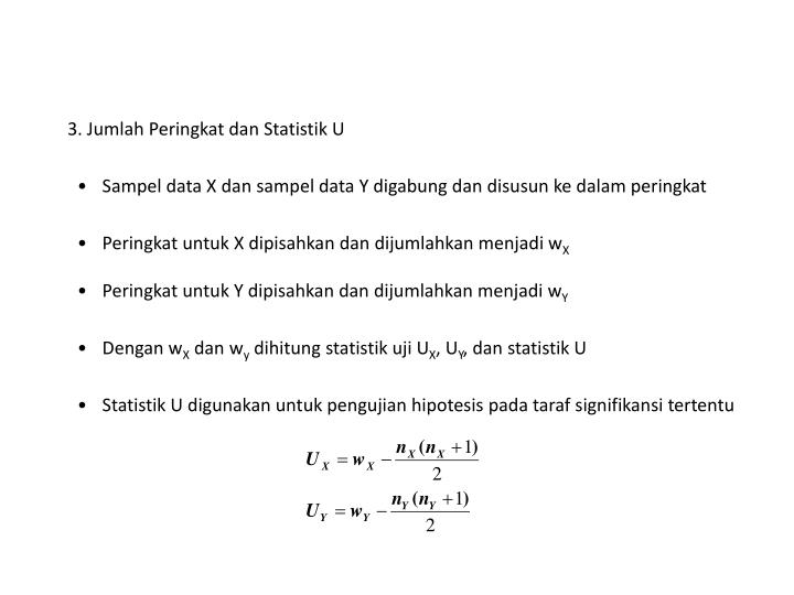 3. Jumlah Peringkat dan Statistik U