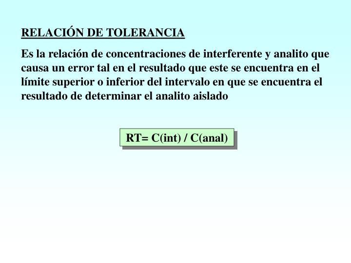 RELACIÓN DE TOLERANCIA