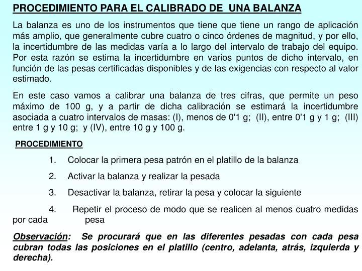 PROCEDIMIENTO PARA EL CALIBRADO DE  UNA BALANZA