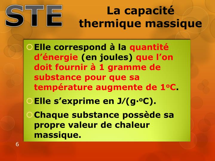 La capacité thermique massique