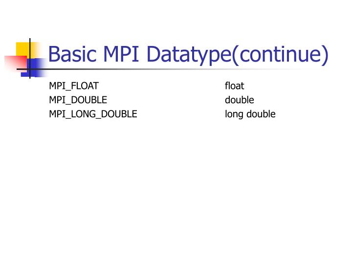Basic MPI Datatype(continue)
