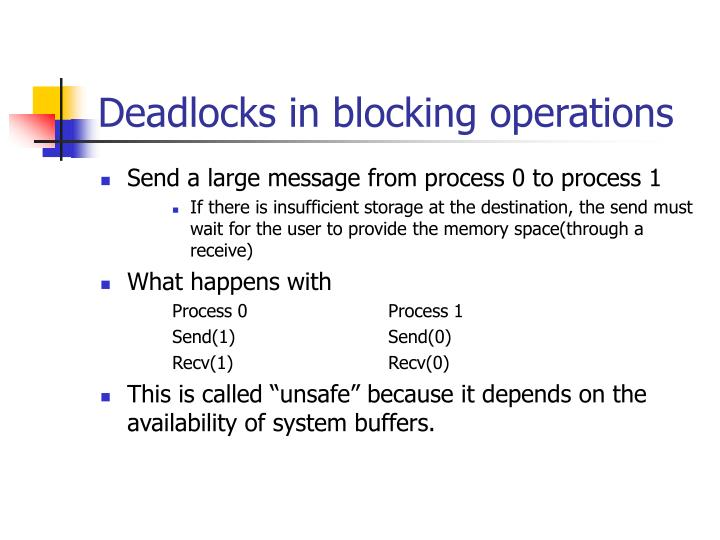 Deadlocks in blocking operations